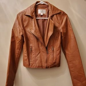 Xhilaration brown faux leather jacket Small